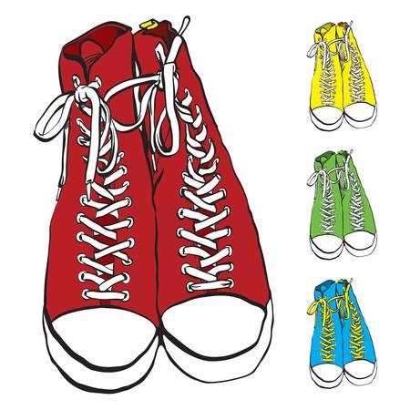 Vector illustratie van paar sneakers met een aantal kleurvarianten
