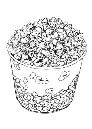 overflowing: Hand drawn illustration of a pop corn bucket
