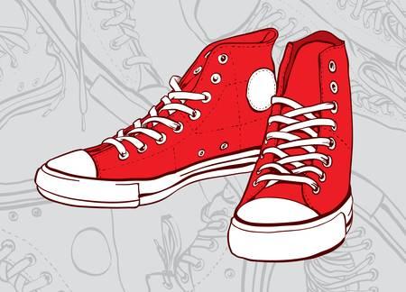 スニーカー: 抽象的な背景が灰色に分離した赤のスニーカー