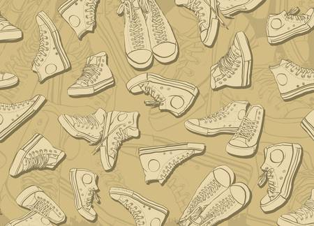 Abstract background formed formed sneakers Vector