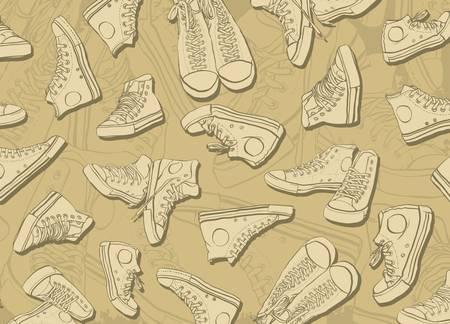 Abstracte achtergrond gevormd gevormd sneakers Stock Illustratie