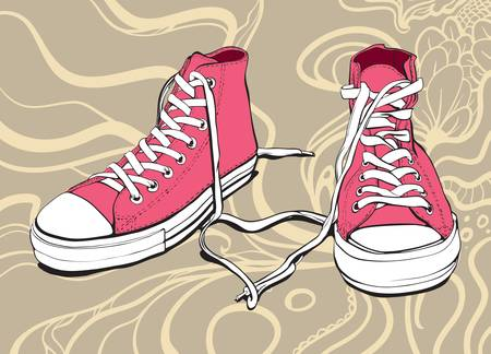 Illustration Of A Pink Sneakers With Lovely Heart On An Abstract Background