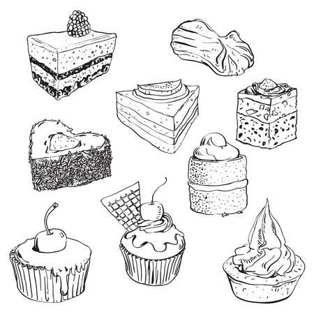 hand getrokken illustratie van sommige zoete taarten