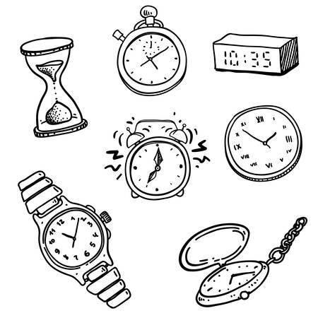 despertador: dibujado a mano del doodle conjunto de relojes y relojes de pulsera