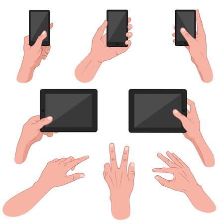 Vector illustratie van de mens en de hand met behulp van slimme telefoon, tablet, mobiel