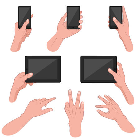 Vector illustration of man s hand using smart phone, tablet, mobile
