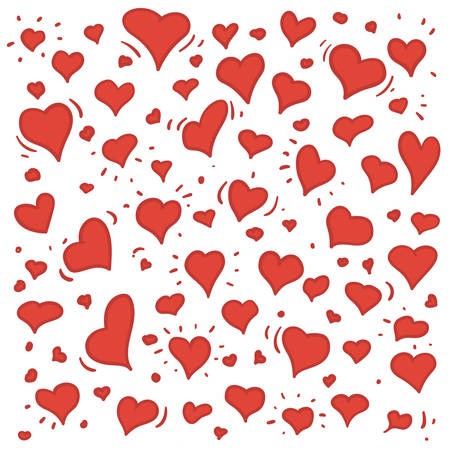 Hand getrokken illustratie van verschillende mooie rode harten op wit wordt geïsoleerd