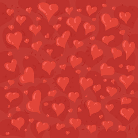 Hand drawn illustration of different lovely hearts on red background