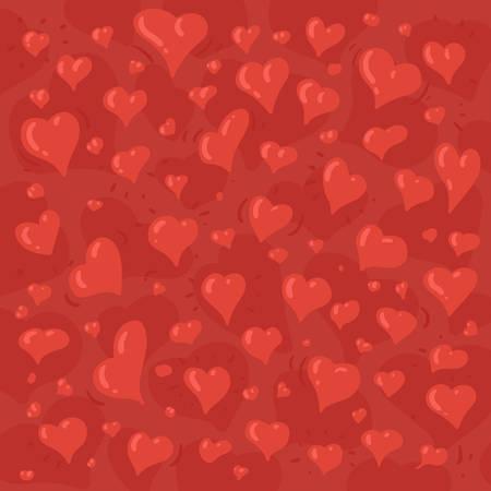 Hand getrokken illustratie van verschillende mooie harten op rode achtergrond Stock Illustratie