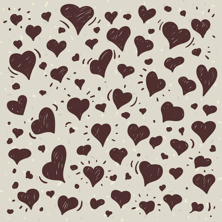 Hand drawn one color illustration of different lovely hearts on light background