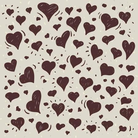 Hand getrokken één kleur illustratie van verschillende mooie harten op lichte achtergrond