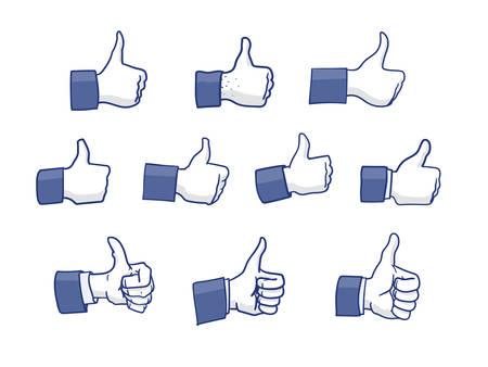Set van Like Hand iconen geïsoleerd op wit Stock Illustratie