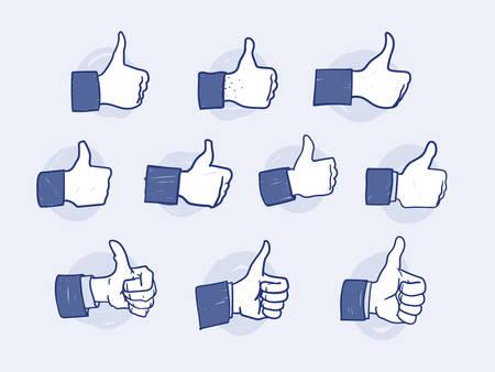 Set van Like Hand pictogrammen op lichte achtergrond Stock Illustratie