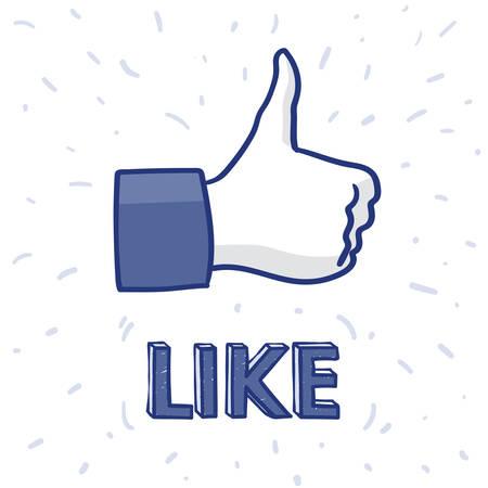 Hand drawn illustration of Like Hand icon