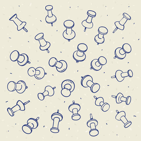 Hand drawn sketch of push pins contours on a light background