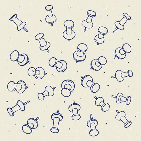 Hand getrokken schets van push pins contouren op een lichte achtergrond