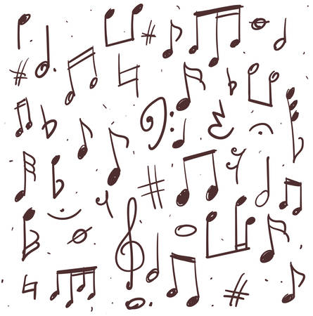 Hand drawn illustration of music notes and other signs