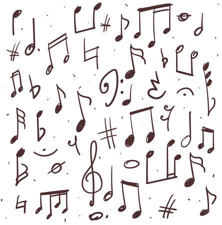 clave de fa: Ilustración exhausta de notas musicales y otros signos Vectores
