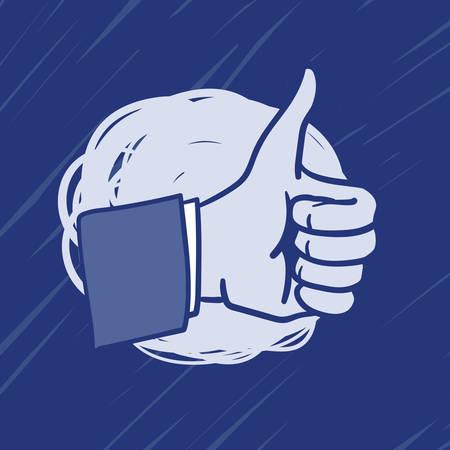 like hand: Hand drawn illustration of Like Hand icon
