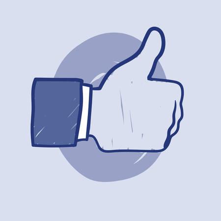 Hand getrokken illustratie van Like Hand icoon