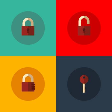 Set van vector iconen met gesloten en geopende hangsloten, sleutel en codeslot