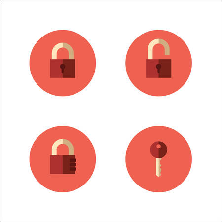 Set of vector icons with closed and opened padlocks, key and code lock 矢量图像