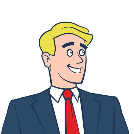 Gelukkig lachend zakenman weg te kijken op wit wordt geïsoleerd