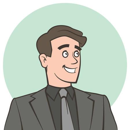 looking away: Happy smiling businessman looking away