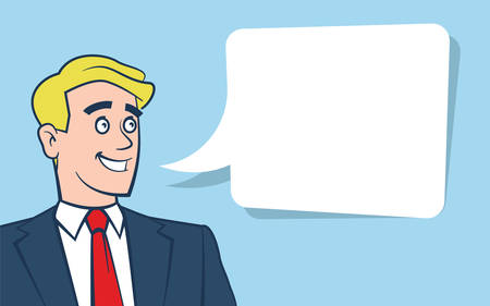 Vector illustration of happy smiling businessman looking away with empty text bubble on blue background accurate layer organised for easy colour customisation
