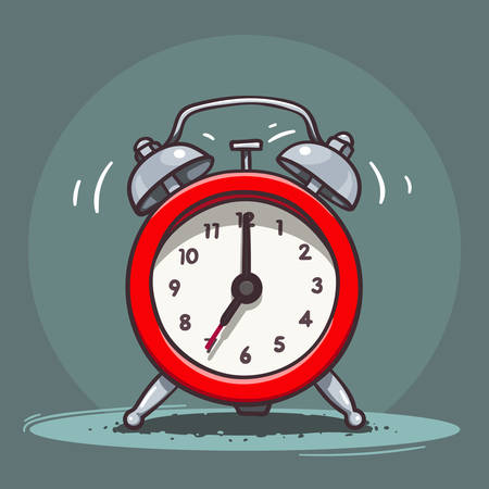 round the clock: Vector hand drawn illustration of red ringing vintage alarm clock