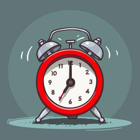 clock icon: Vector hand drawn illustration of red ringing vintage alarm clock