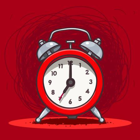 Vector hand drawn illustration of red ringing vintage alarm clock