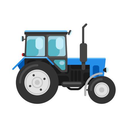Vector illustratie van een blauwe trekker een zijaanzicht op wit wordt geïsoleerd Stock Illustratie