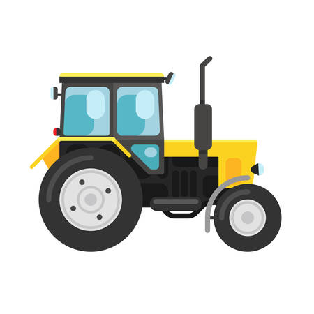 agronomics: Vector illustration of a yellow tracktor a side view isolated on white Illustration