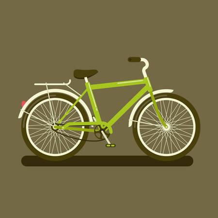 Vector illustratie van een groene fiets een zijaanzicht op een donkere achtergrond Stock Illustratie
