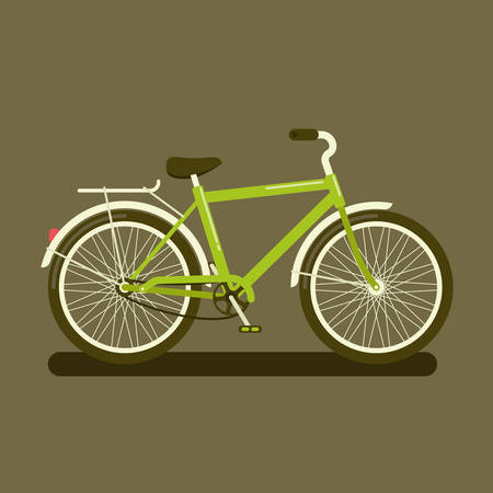 Vector illustration of a green bicycle a side view on dark background 矢量图像