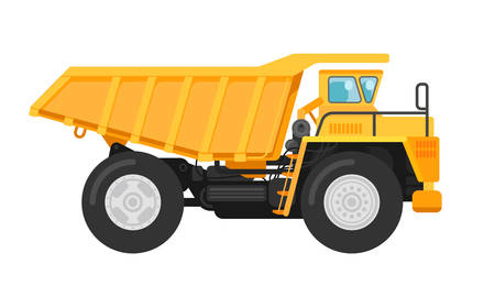 Vector illustration of a yellow mining dump truck tipper side view