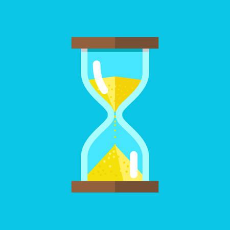 Vector illustration of hourglasses on blue background
