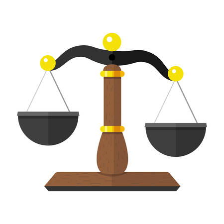 Vector Illustration of Scales of Justice  the Law Balance Symbol