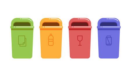 Vector illustratie van containers voor de recycling van afval sorteren