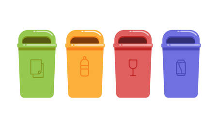 Vector illustration of containers for recycling waste sorting