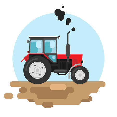 Vector illustration of a red tracktor