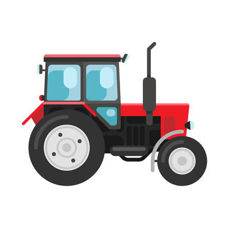 agronomics: Vector illustration of a red tracktor a side view isolated on white