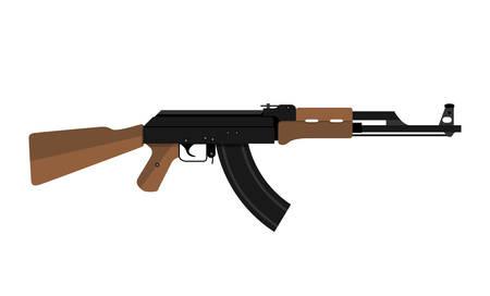 Vector illustration of AK47 kalashnikov assault rifle Vectores