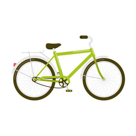 Vector illustratie van een groene fiets een zijaanzicht op wit wordt geïsoleerd Stock Illustratie