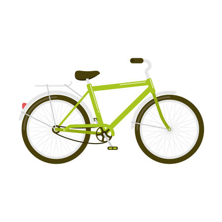 Vector illustration of a green bicycle a side view isolated on white