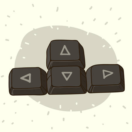 Hand drawn illustration of dark keyboard buttons with arrows
