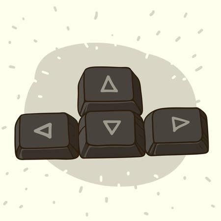Hand getrokken illustratie van donkere toetsenbord knoppen met pijlen