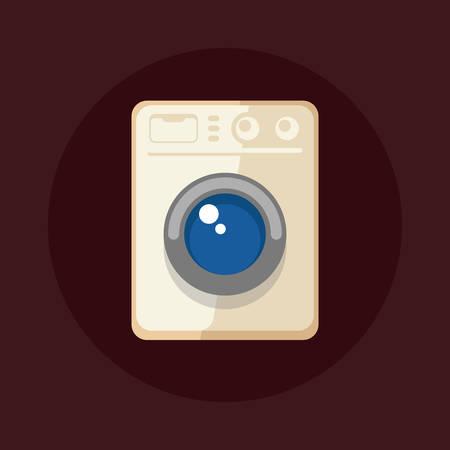 Platte ontwerp vector illustratie van de moderne wasmachine geïsoleerd op donkere achtergrond