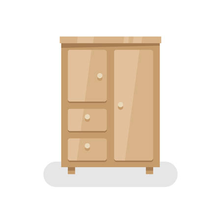 Flat design cupboard icon isolated on white background, vector illustration